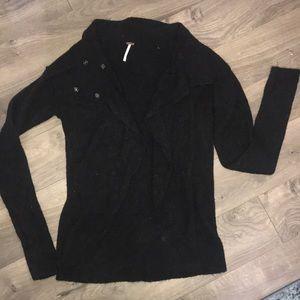 Free People black cardigan sweater size Large